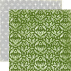 Echo Park paperi Very Merry X-mas Green Damask 12x12