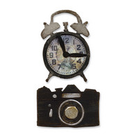 Sizzix movers & shapers Vintage alarm clock & camera