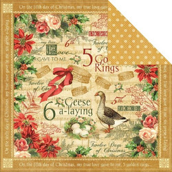 Graphic45 paperi The Twelwe Days of Christmas Golden rings
