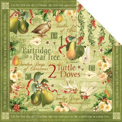 Graphic45 paperi The Twelwe Days of Christmas Turtle Doves