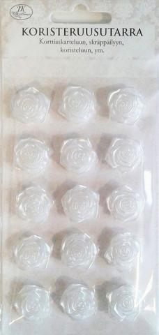 JK resiini koristeruusutarra valkoinen 15kpl