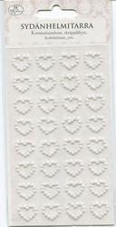 JK sydämenmalliset helmitarrat 32kpl valkoinen