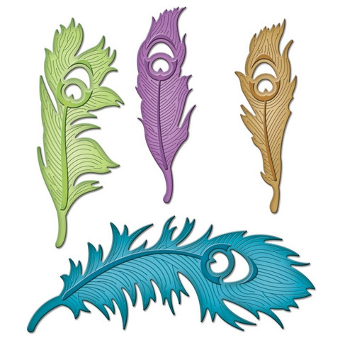 Spellbinders stanssit Peacock Feathers