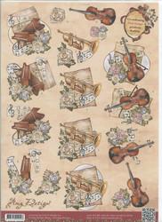 Amy Design 3d-kuva soittimet ja kukkia