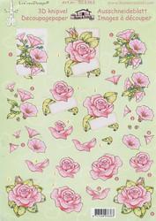 LeCrea 3d-kuvat vaaleanpunaisia kukkia