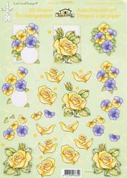 LeCrea 3d-kuvat orvokit ja keltaiset ruusut