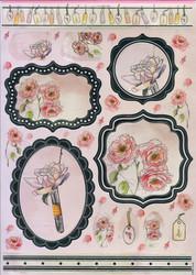 Anita´s stanssatut kuvat folio Peach Floral