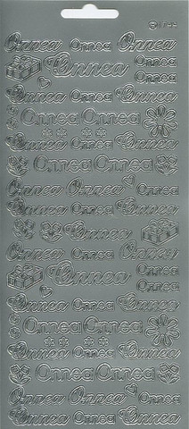 Ääriviivatarrat Onnea + koristeet hopea