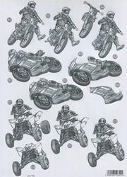 CU stanssattu 3d-kuva mopo, moottoripyörä harmaa