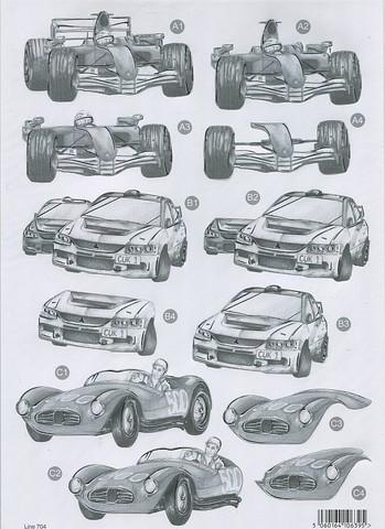 CU stanssattu 3d-kuva autot harmaa