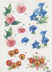 CU stanssattu 3d-kuva erilaisia kukkia