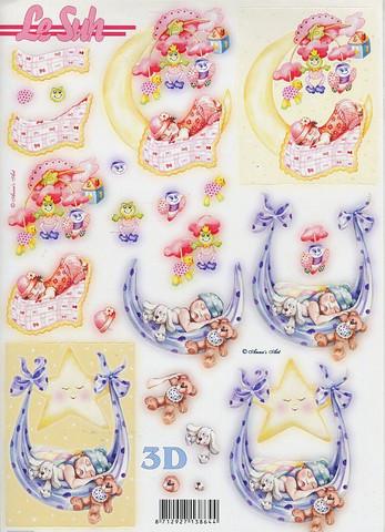 Lesuh stanssatut 3d-kuvat vauva-aihe