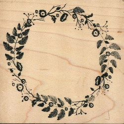 Memory box puukantainen leima Woodland wreath