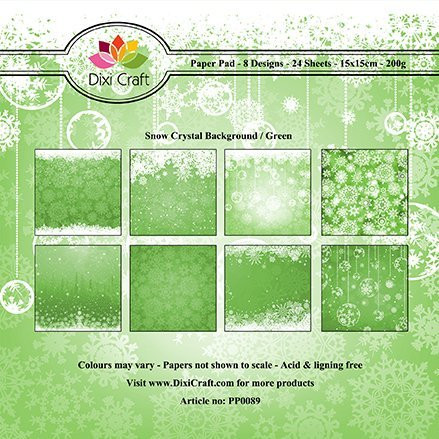 Dixi Craft paperikko Snow crystal background/green 6x6
