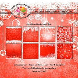 Dixi Craft paperikko Snow crystal background/red 6x6