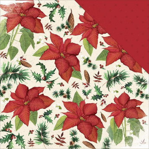 KaiserCraft skräppipaperi home for christmas poinsettia 12x12
