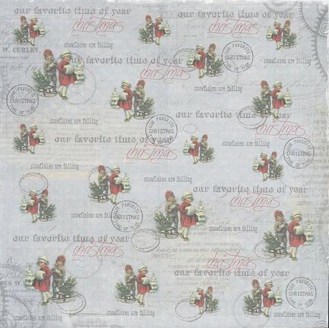 R paperi joululapset ja kelkka 15,2x15,2cm/ 2kpl