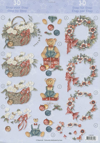 3d-kuva joulukranssi, kori ja nalle