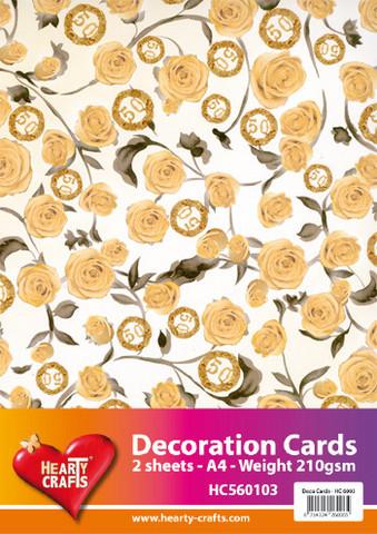 Hearty Crafts paperit 50-vuotta ja ruusut a4/2kpl
