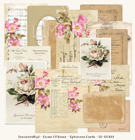 Lemoncraft House of roses Ephemera card 24kpl