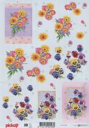 Pickup 3d-kuvat orvokit ja kukkakimppu
