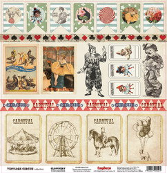 Scrapberry´s paperi Vintage circus Clownery 12x12