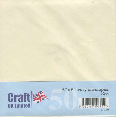 Craft UK neliökirjekuoret kerma 6x6