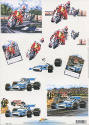 DM 3d-kuvat moottoripyörä ja formula-auto