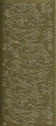 Ääriviivatarra ruusut ympyrässä kulta