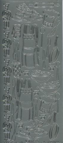 Ääriviivatarra kokki ja välineet hopea