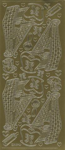 Ääriviivatarra kehdot ja koristeet kulta