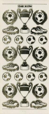 Ääriviivatarra jalkapallo, pokaalit valko-kulta