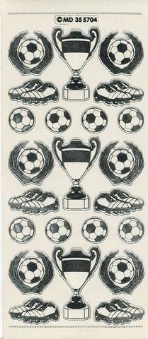 Ääriviivatarra jalkapallo, pokaalit valko-hopea