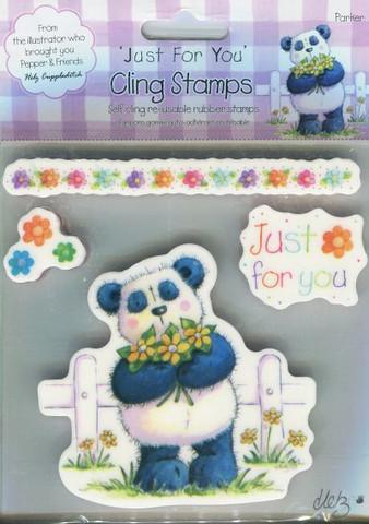Ez-mount leimasetti Panda ja kukat