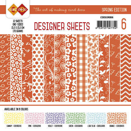 Card deko paperipakkaus Spring oranssi 15,2x15,2cm