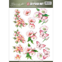 Jeanine´s Art stanssatut 3d-kuvat wit sympathy punertavat kukat