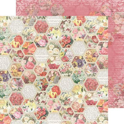 Reprint paperi Spring time Flower hexagon