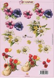 Art Coupure 3d-kuvat puukenkä ja kukkia