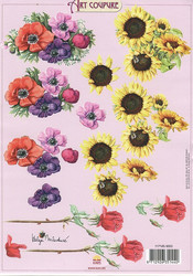 Art Coupure 3d-kuvat auringonkukat ja kruunuvuokot