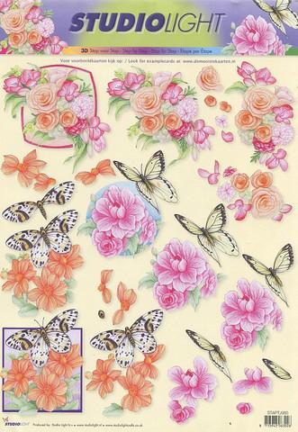 Studiolight 3d-kuvat kukkia ja perhosia