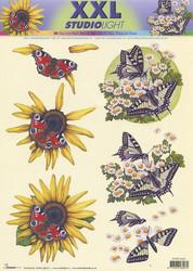 Studiolight 3d-kuvat xxl auringonkukka ja perhonen
