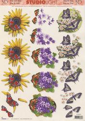 Studiolight 3d-kuvat auringonkukka, sinivuokot  ja perhonen