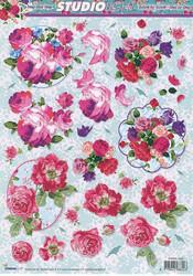 Studiolight 3d-kuvat värikkäät kukat kehyksessä
