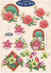 Step by Step 3d-kuvat erilaisia kukkia kehyksissä
