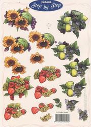 Step by Step 3d-kuvat kukkia ja syksyn satoa