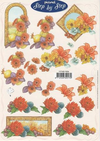 Step by Step 3d-kuvat erilaisia kukkia kehyksissä 54
