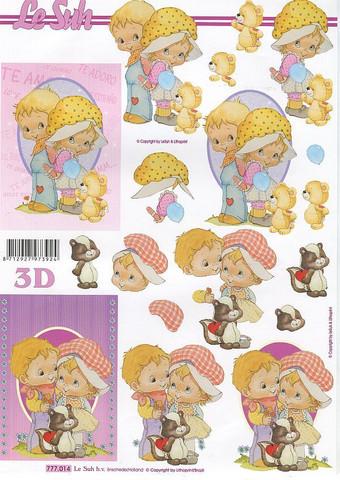 Lesuh 3d-kuvat tyttö ja poika ovaalissa