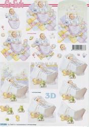 Lesuh 3d-kuvat vauvat sängyssä ja kehdossa