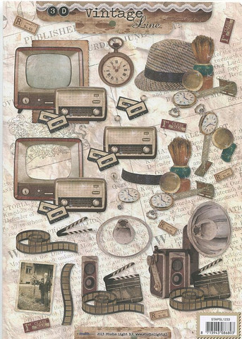 Studiolight 3d-kuvat vintage televisio, hattu, kello