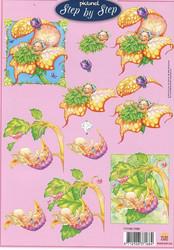 Step by Step 3d-kuvat keijut kukassa ja lehdellä